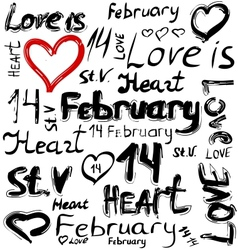 Set of grunge elements for Valentine Day vector image