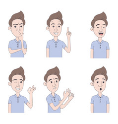 set of man expressions vector image