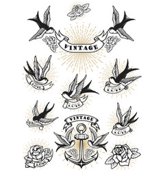 Set of swallow tattoo vintage anchor and roses vector