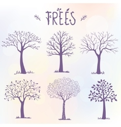 set of trees silhouette vector image
