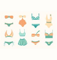 Set women swimwear isolated on light background vector
