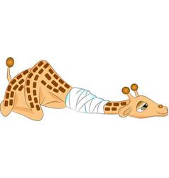 Sick giraffe animal cartoon vector