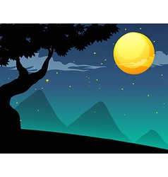 Silhouette fullmoon vector