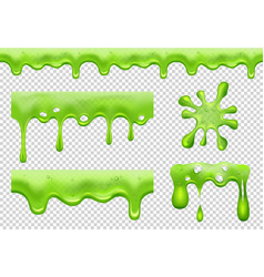 Slime green toxic flowing blotting and splatter vector