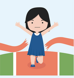 small girl jogging marathon race vector image