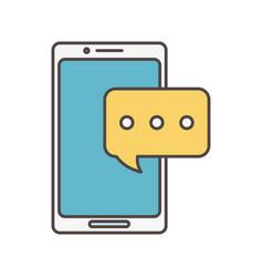 smartphone chat talk bubble social media icon vector image