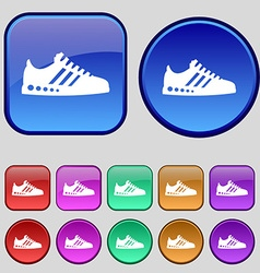 Sneakers icon sign A set of twelve vintage buttons vector image