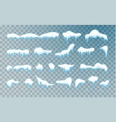 snow caps snowballs and snowdrifts set snow cap vector image