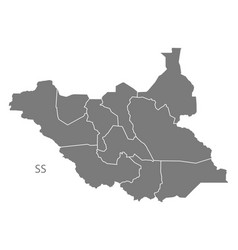 south sudan with states map grey vector image