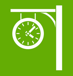 Station clock icon green vector