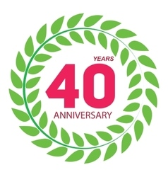 Template logo 40 anniversary in laurel wreath vector