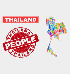 Thailand map population demographics and corroded vector