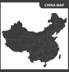 The detailed map of the china with regions vector