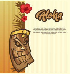 tiki tribal mask tiki bar banner vector image