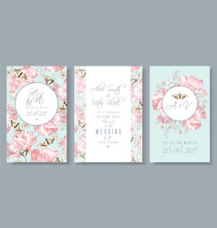 tulip butterfly cards set 2 vector image