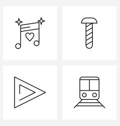 Universal symbols 4 modern line icons music vector