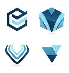 V letter logo set vector