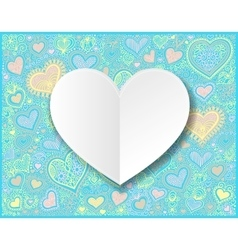 Valentines day white paper hand drawing on heart vector image