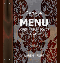 vintage damask ornamented menu background vector image