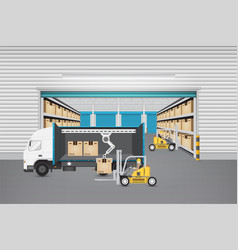 Warehouse and shipping vector