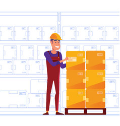 warehouse worker is storing boxes on the pallet vector image