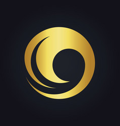 water wave round swirl gold logo vector image