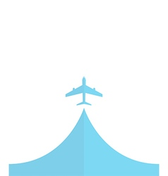 White silhouette of airplane isolated on blue Flat vector
