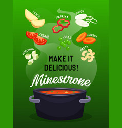 whole sliced vegetables soup vector image