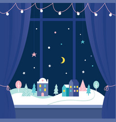 winter holidays window decorations snowy town at vector image