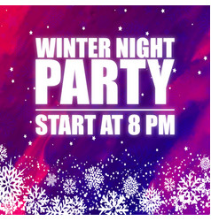 Winter night party 8pm purple background im vector