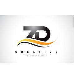 Zd z d swoosh letter logo design with modern vector