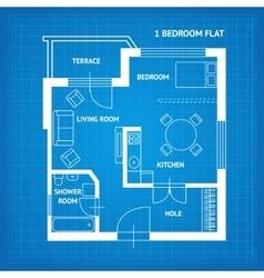 Apartment Floor Plan Blueprint vector image