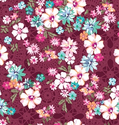 awesome ditsy floral over lace seamless vector image