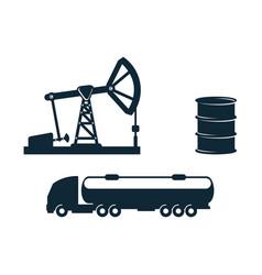gasoline tankeroil barrel derrick pump vector image