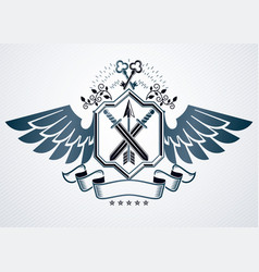 old style heraldic emblem made with armory and vector image vector image