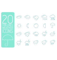 thin line weather set icons concept design vector image vector image