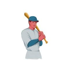 Vintage Baseball Player Bat Watercolor vector image