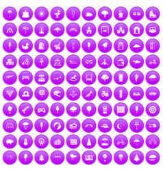 100 childrens park icons set purple vector image vector image