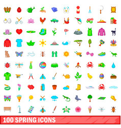 100 spring icons set cartoon style vector image