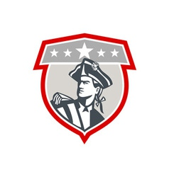 American Patriot Looking Up Shield Retro vector image