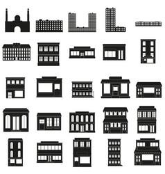 black buildings web icons set vector image vector image