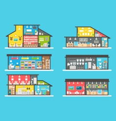 Flat design shops interior set vector image
