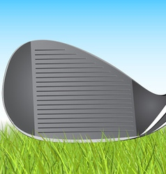 golf club iron in the grass vector image vector image