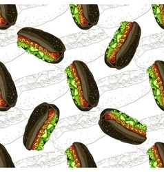 Seamless pattern hot dog scetch and color vector image