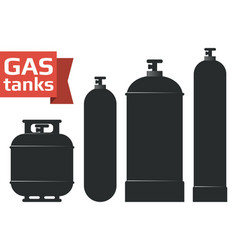 Various gas tanks sihlouette icons set vector