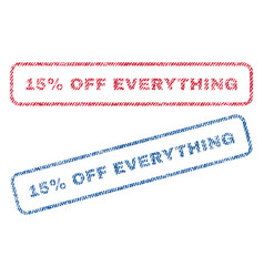 15 percent off everything textile stamps vector image vector image