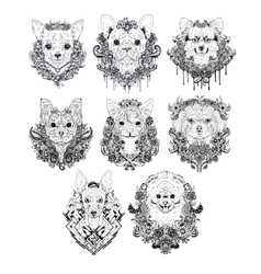 Hand drawn dog faces vector image vector image