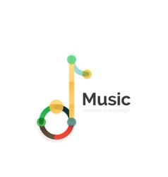 Music note logo flat thin line geometric design vector image