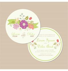 Round wedding card vector