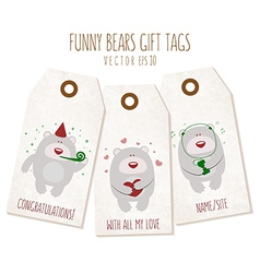 Set of funny bears gift tags on textured backgroun vector image